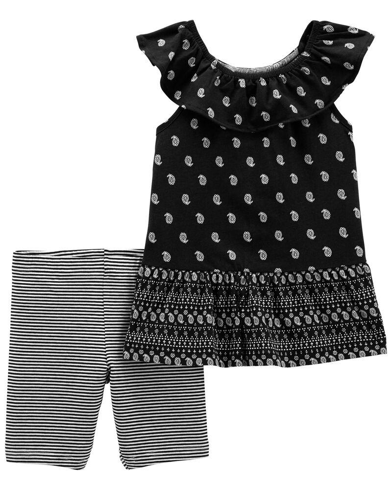 2-Piece Paisley Jersey Tee & Bike Shorts, , hi-res