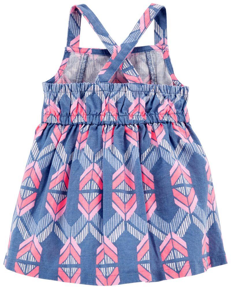 Aztec Linen Dress, , hi-res
