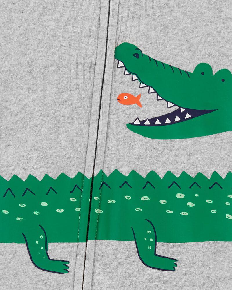 Pyjama 1 pièce sans pieds en coton ajusté à motif d'alligator, , hi-res