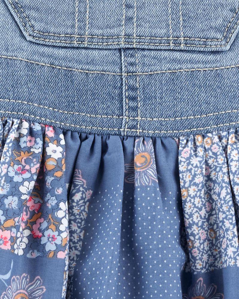 Robe chasuble en tricot de denim patchwork fleuri, , hi-res
