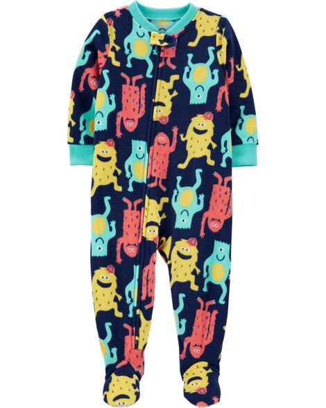 Pyjama 1 pièce en molleton avec pieds motif de monstre