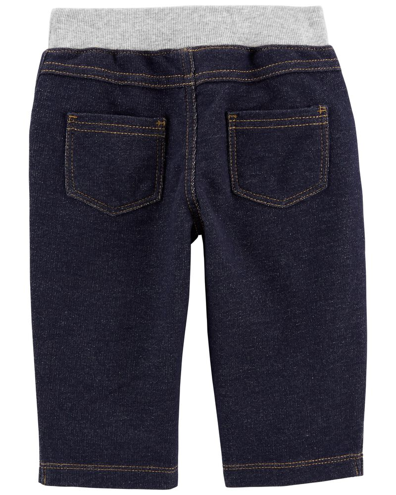 Pantalon à enfiler en tricot de denim, , hi-res