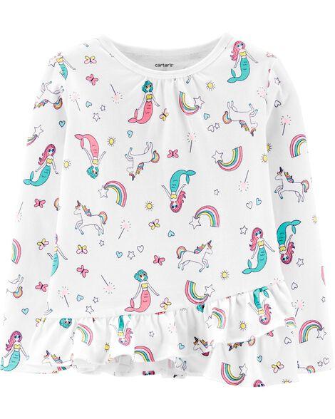 T-shirt en jersey volanté avec sirènes et licornes