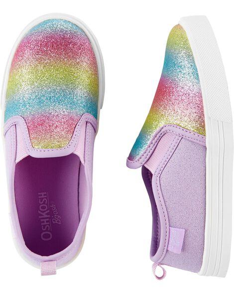 Rainbow Glitter Slip-On Shoes