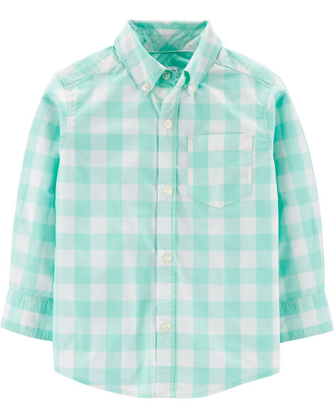 Chemise boutonnée en popeline à motif vichy