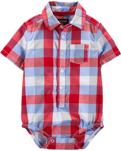 Checkered Button-Front Bodysuit