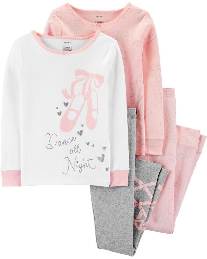 4-Piece Ballet Snug Fit Cotton PJs, , hi-res