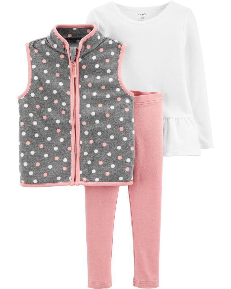 3-Piece Polka Dot Fleece Vest Set, , hi-res