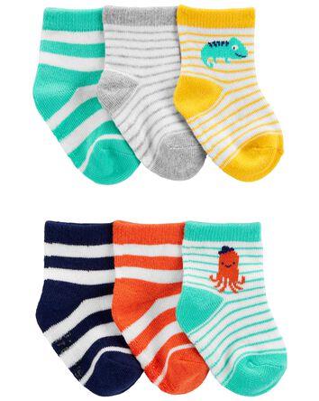 6 paires de chaussons rayés
