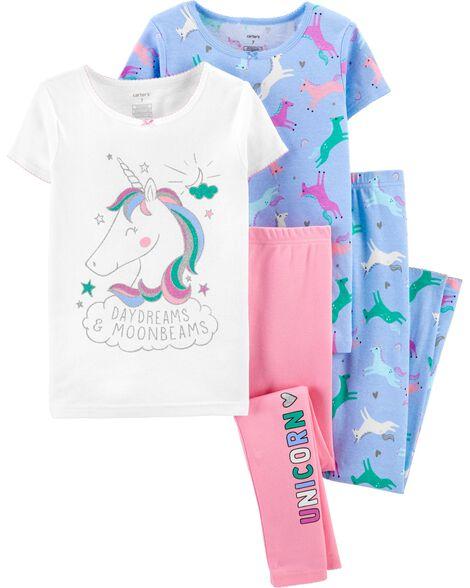 4-Piece Glitter Unicorn Snug Fit Cotton PJs