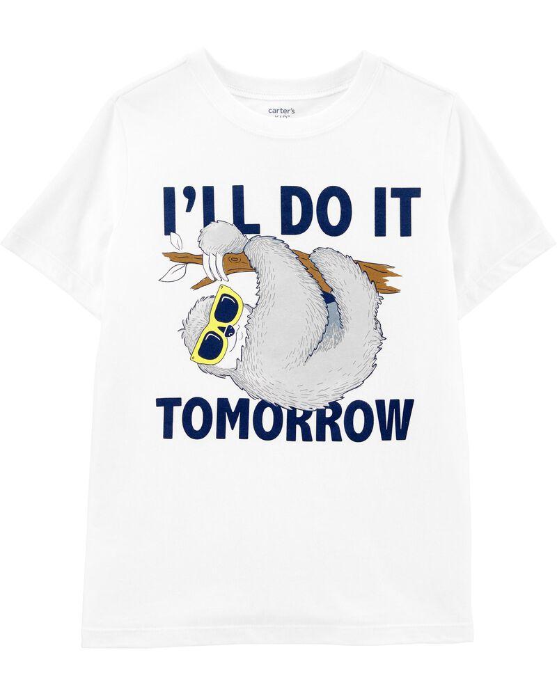 T-shirt en jersey à motif de paresseux, , hi-res