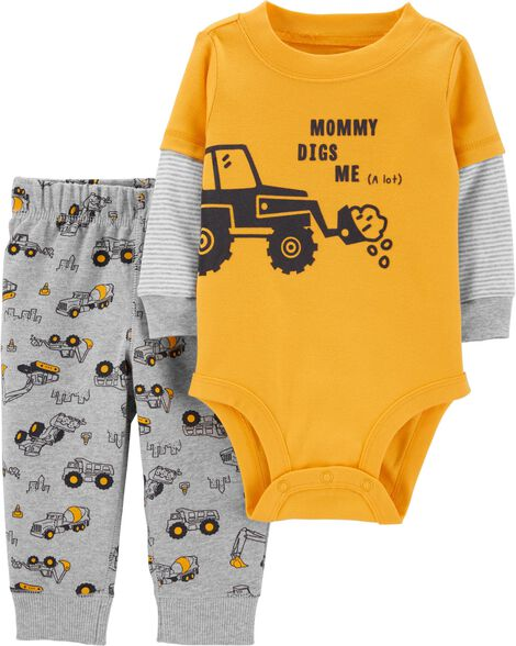 2-Piece Tractor Layered-Look Bodysuit Pant Set