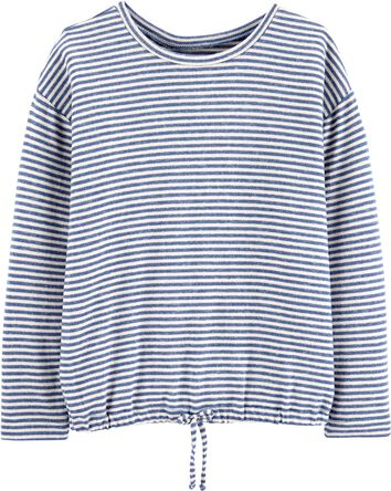 Striped Tie-Hem Sweatshirt