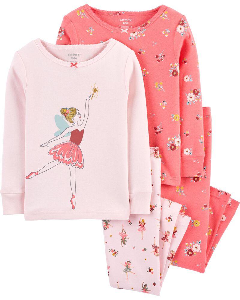 Pyjama 4 pièces en coton ajusté à ballerine, , hi-res