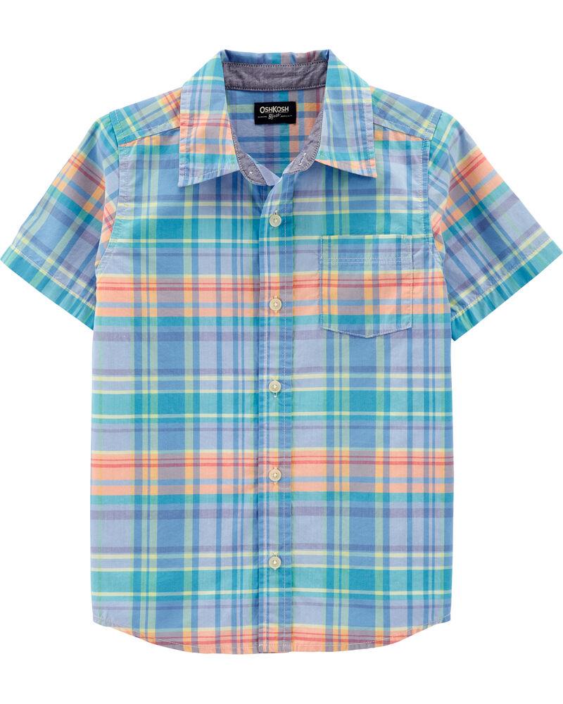 Chemise boutonnée à manches courtes et motif écossais, , hi-res