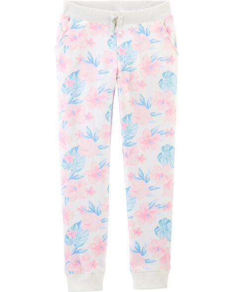 Pantalon en molleton fleuri tropical