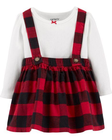 2-Piece Holiday Bodysuit & Skirtall Set