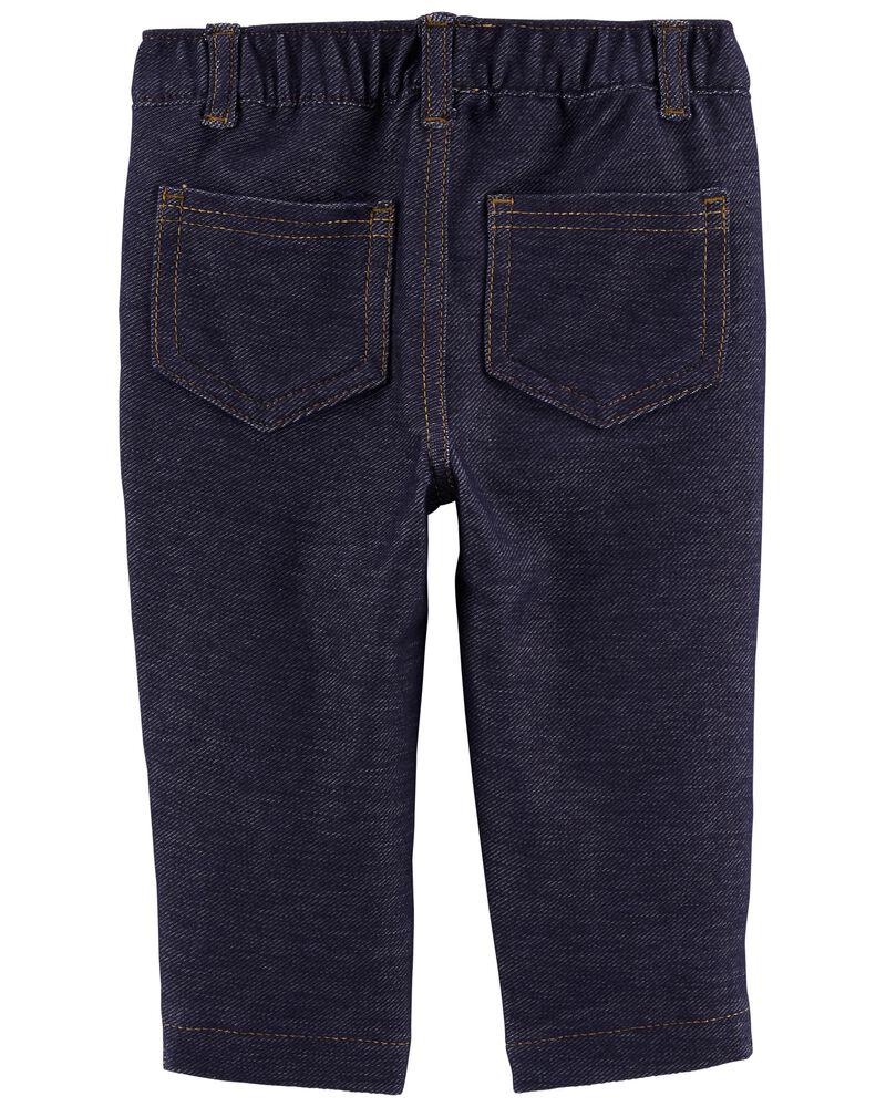 Pull-On Knit Denim Pants, , hi-res
