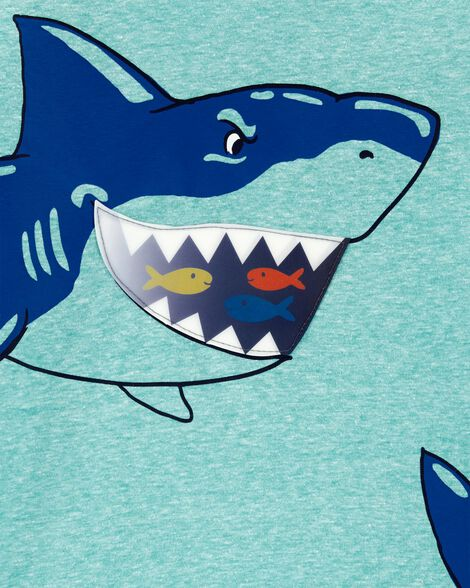 Shark Action Graphic Snow Yarn Tee