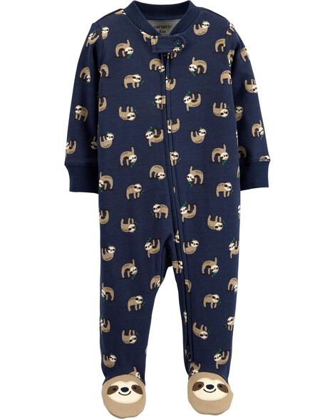 Sloth 2-Way Zip Cotton Sleep & Play
