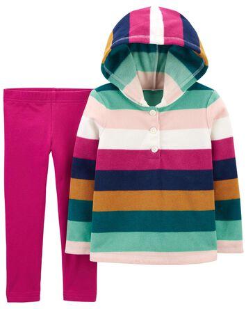 2-Piece Striped Fleece Hoodie & Leg...