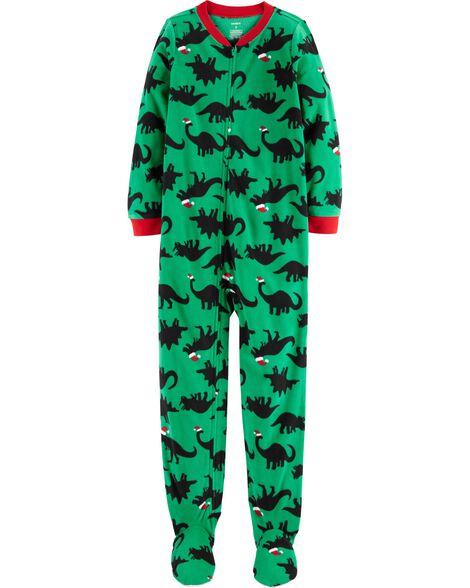 1-Piece Dinosaur Fleece Footie PJs