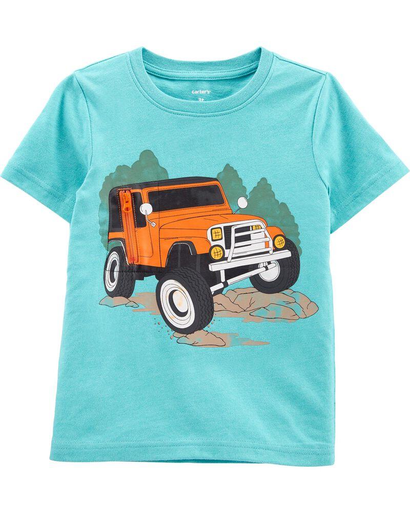 T-shirt chiné dévoilant une voiture, , hi-res