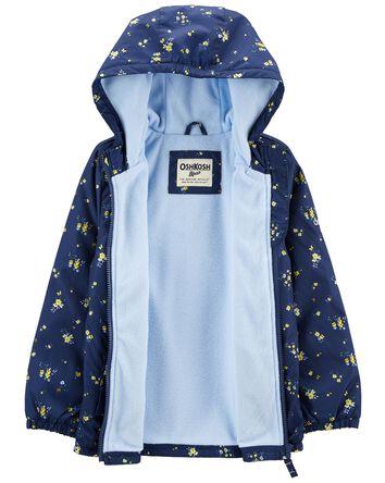 Fleece-Lined Floral Print Jacket