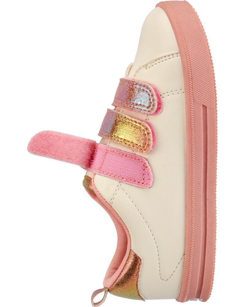 White Triple Strap Sneakers, , hi-res