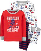 4-Piece 100% Snug Fit Cotton PJs, , hi-res