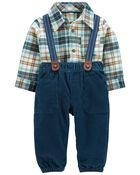 2-Piece Plaid Bodysuit & Suspender Pant Set, , hi-res