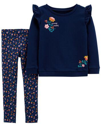 2-Piece Long-Sleeve Tee & Floral Le...