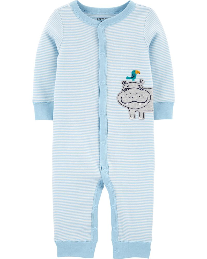 Striped Hippo Snap-Up Cotton Sleep & Play, , hi-res