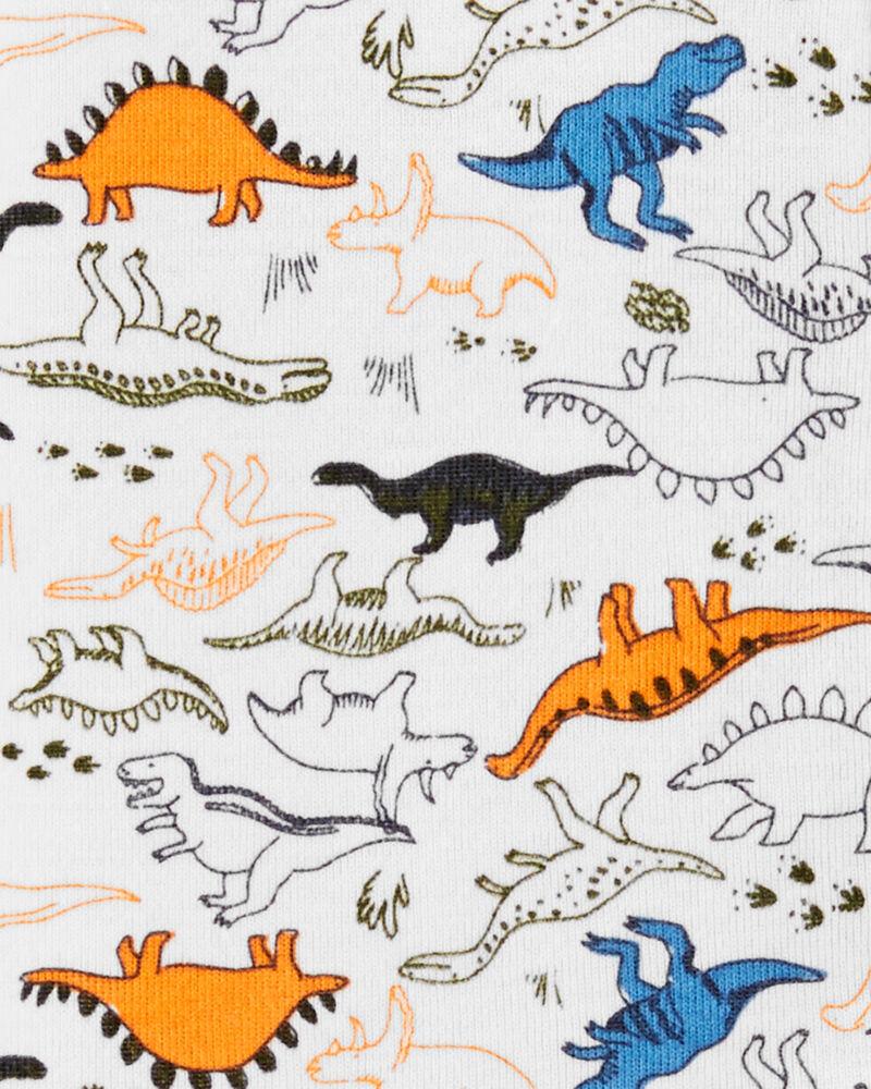 Pyjama 1 pièce sans pieds en coton ajusté à motif dinosaure, , hi-res