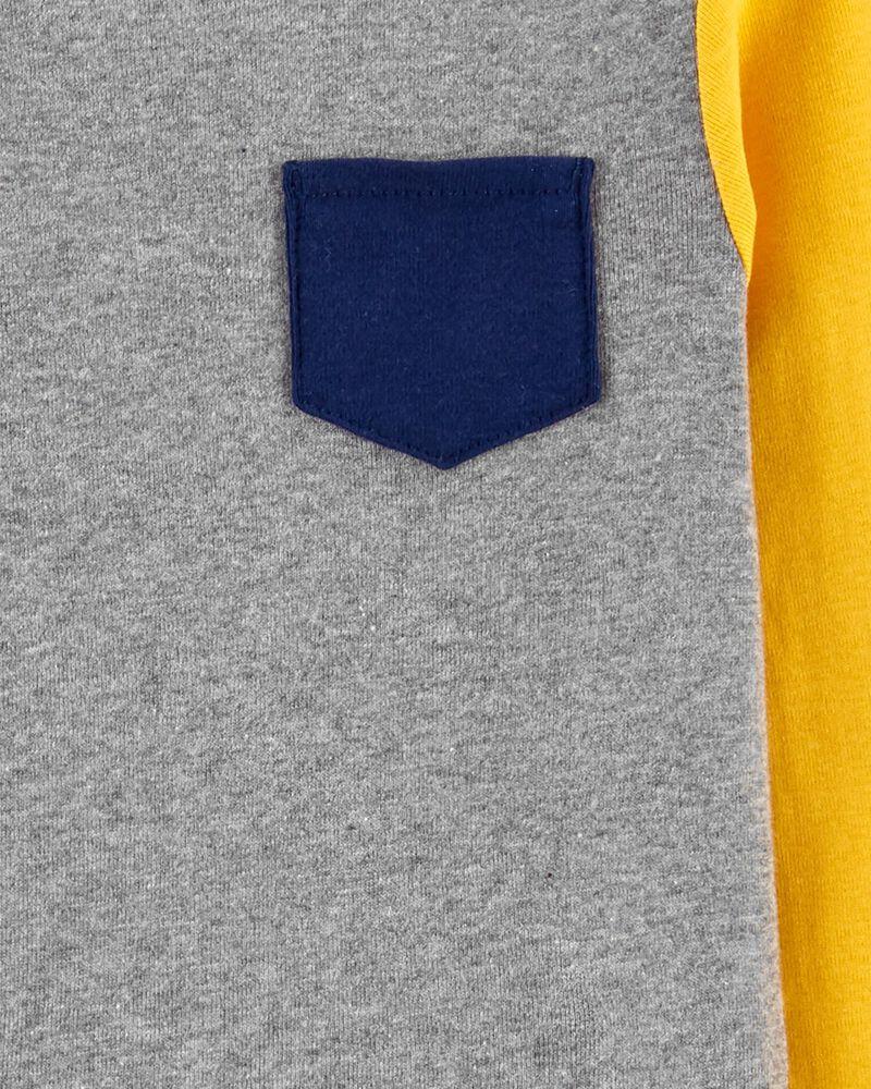 Pyjama 2 pièces en coton ajusté de couleurs contrastantes , , hi-res