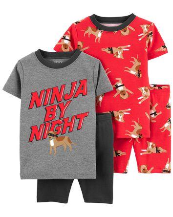 Pyjamas 4 pièces en coton ajusté Ni...