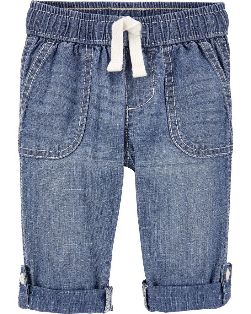 Pantalon convertible en chambray, , hi-res