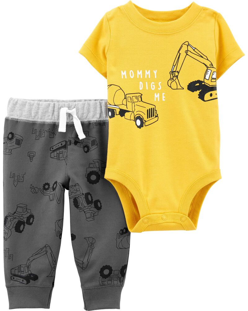 2-Piece Construction Bodysuit Pant Set, , hi-res