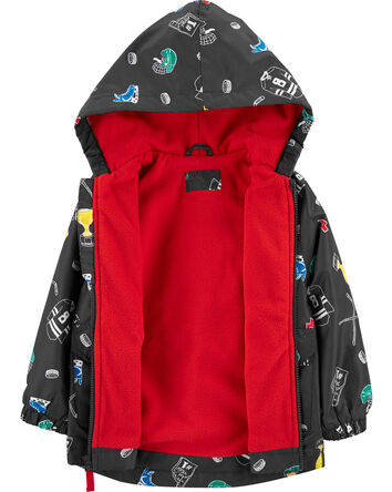 Hockey Print Fleece-Lined Rain Jack...