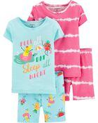 Pyjama 4 pièces en coton ajusté motif fruit, , hi-res