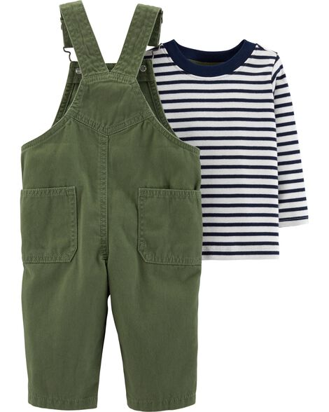2-Piece Striped Tee & Overalls Set