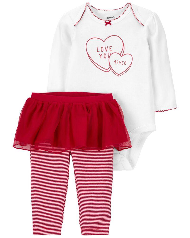 2-Piece Valentine's Day Bodysuit & Tutu Pant Set, , hi-res
