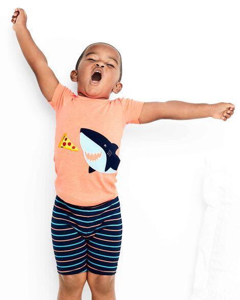 Pyjama 4 pièces en coton ajusté néon à requin