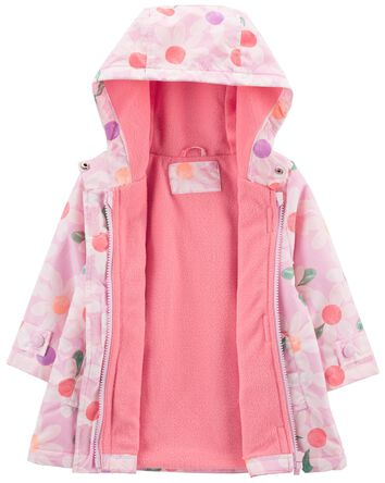 Fleece-Lined Daisy Print Rain Jacke...