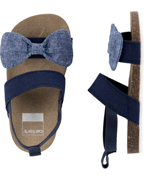 Chambray Bow Sandals