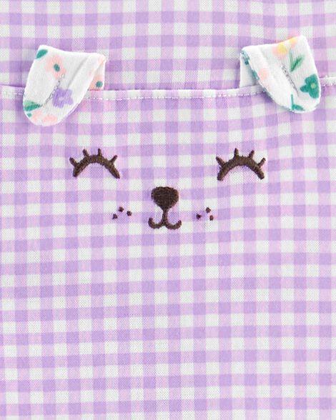 Pyjama 3 pièces en polyester à motif vichy et fleurs