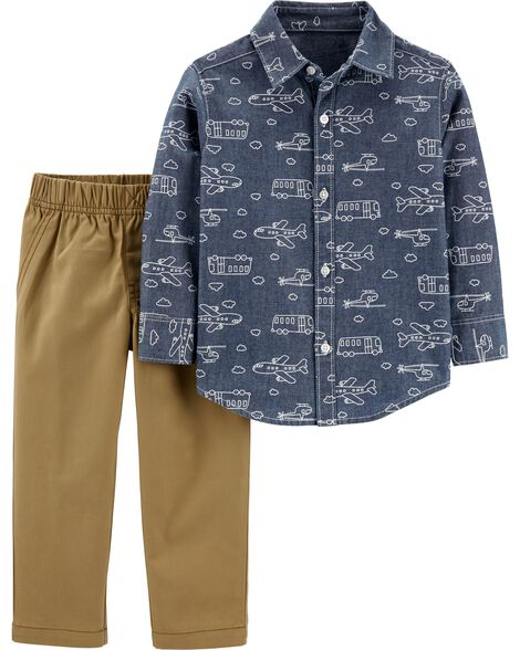 Ensemble 2 pièces chemise boutonnée en chambray et pantalon en toile