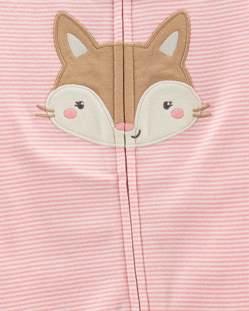 Grenouillère pour dormir et jouer en coton avec glissière 2 sens et motif renard, , hi-res