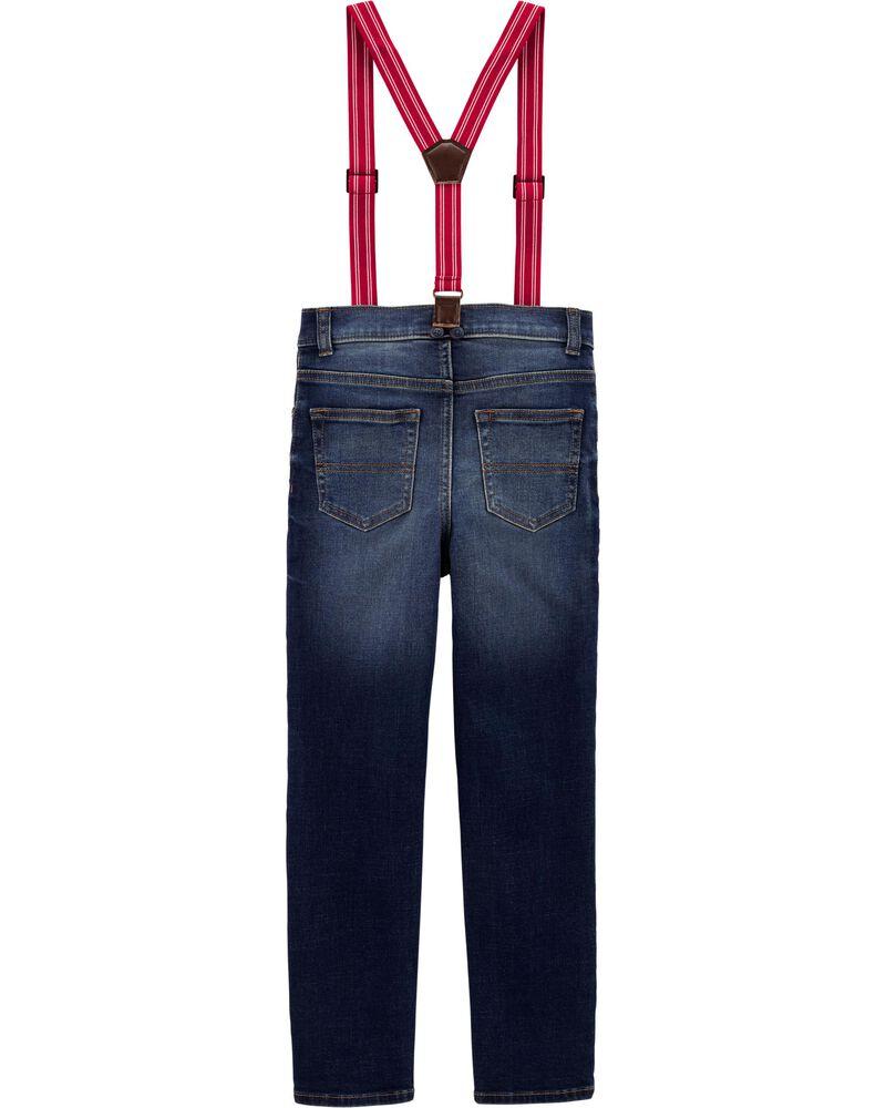 Jeans à bretelles doublé de jersey, , hi-res