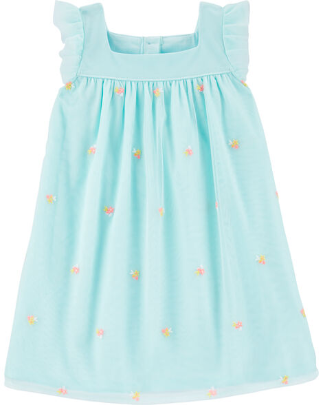 Floral Schiffli Tulle Dress